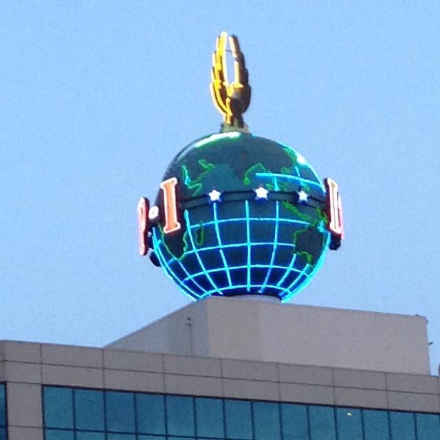 The P-I Globe lit...