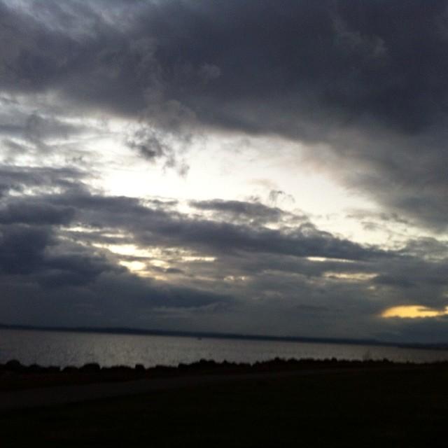 Cloudy sunset.